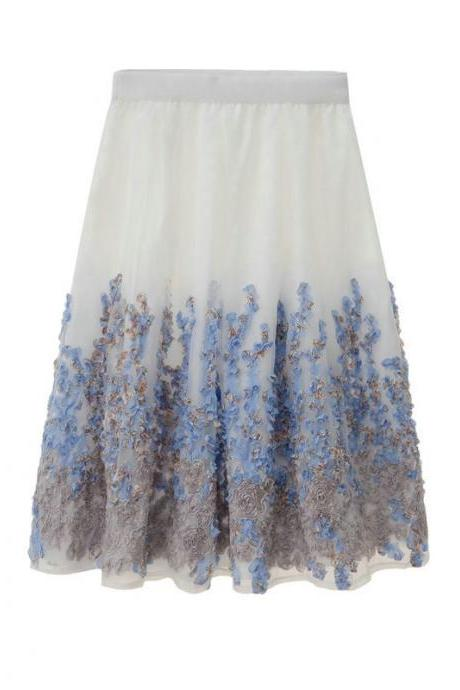 High Waist Flower Print A Line Skirt - Blue