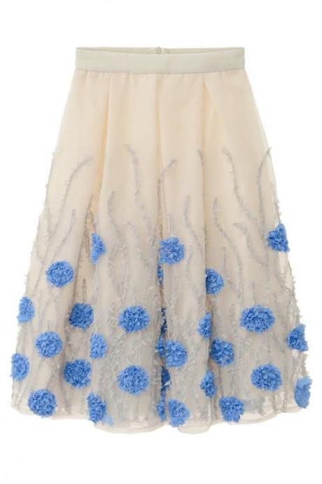 High Waist Flower Print A Line Skirt - Blue & Grey