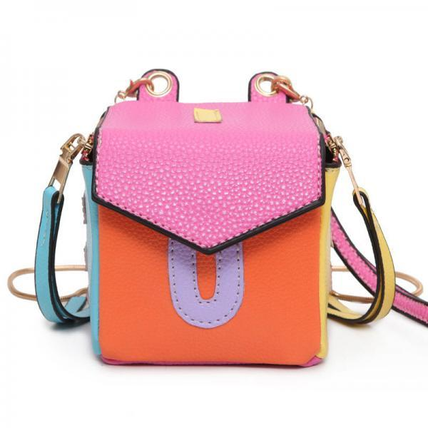 Cute Women Crossbody Bag Small Pu Leather Lady Patchwork Messenger Bag Cube Tassel Shoulder Bags