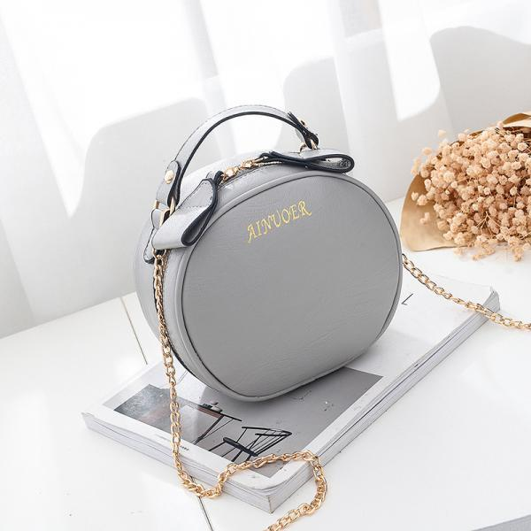 Cute Circular Women Mini Messenger Shoulder Bag Crossbody bag - Grey