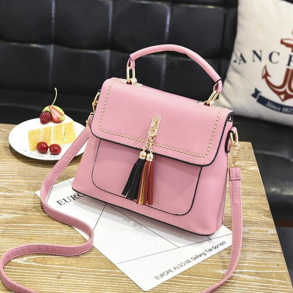 Tassel Women Messenger Bags Cross Body Shoulder Lady Bags Mini - Pink