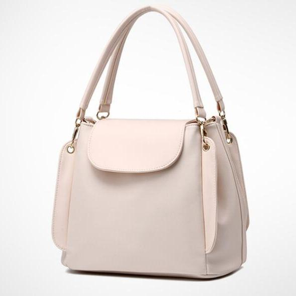 Women Fashion Three Layers Shoulder Bag Casual Crossbody Handbag - Beige