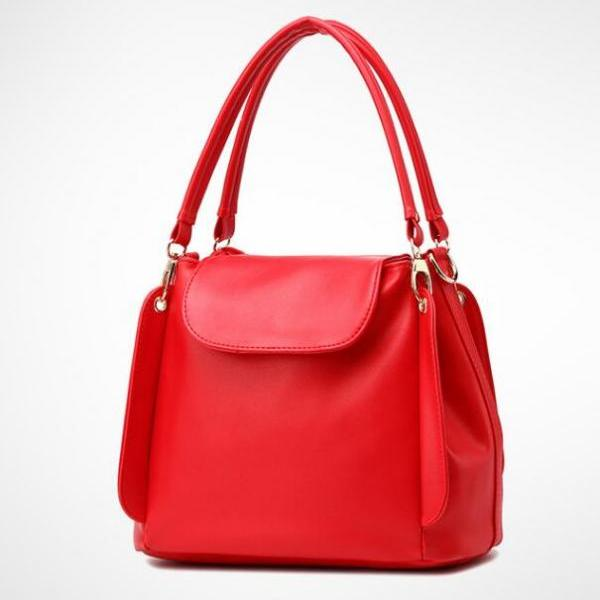 Women Fashion Three Layers Shoulder Bag Casual Crossbody Handbag - Red