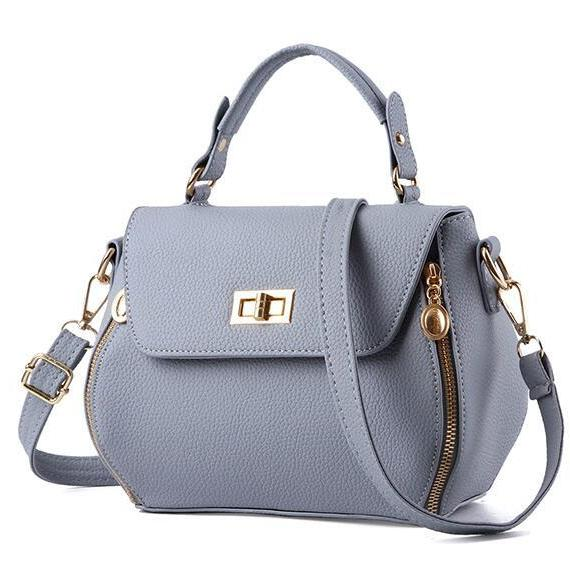 Small Women Messenger Bags Female Crossbody Shoulder Bag Mini Clutch Purse Bag Candy Color - Grey