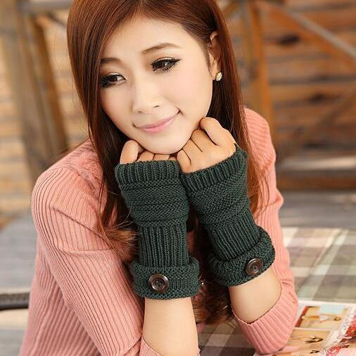 Cute Women Arm Warmer Fingerless Knitted Long Gloves - Dark Green