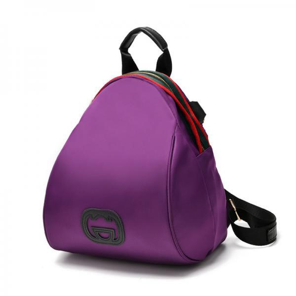 Women Nylon Mini Backpack Shoulder Bag - Purple