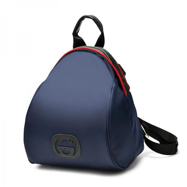 Women Nylon Mini Backpack Shoulder Bag - Dark Blue