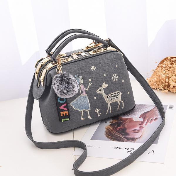 Cute Women Crossbody Mini Shoulder Bag Girls Chain Messenger Bag Ladies Small Handbags Purse - Dark Grey