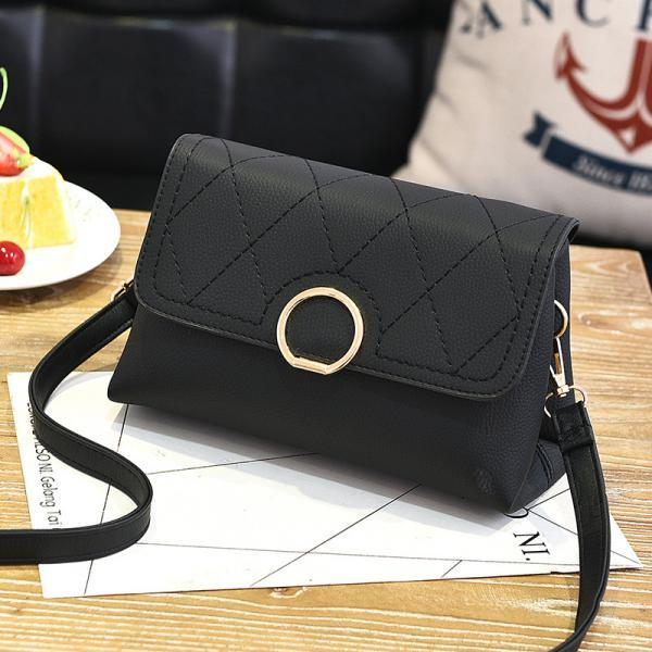 Fashion Small Purse Bag Leather Cross Body Shoulder Messenger Bag - Black