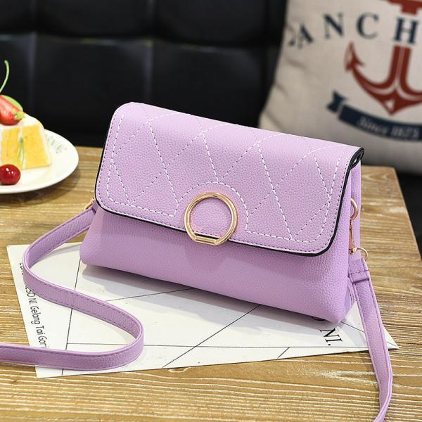 Fashion Small Purse Bag Leather Cross Body Shoulder Messenger Bag - Purple