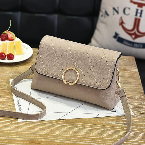 Fashion Small Purse Bag Leather Cross Body Shoulder Messenger Bag - Khaki