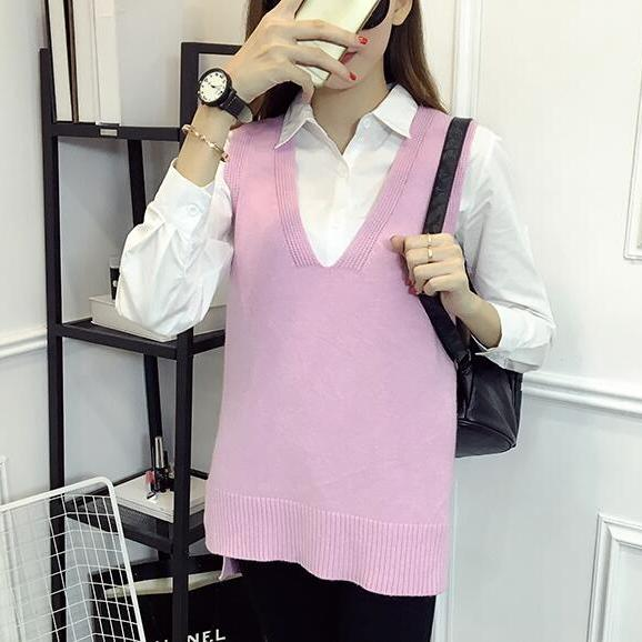 Women V Neck Sleeveless Vintage Pullover Knit Vest Tops - Pink