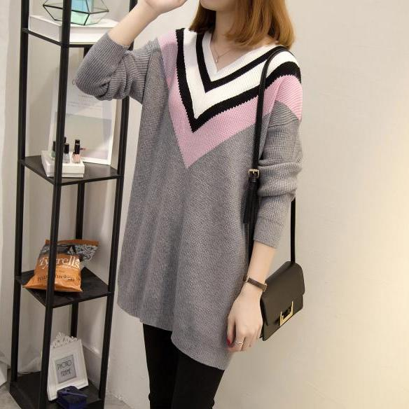 Women Long Patchwork Loose Sweater Pullover Tops
