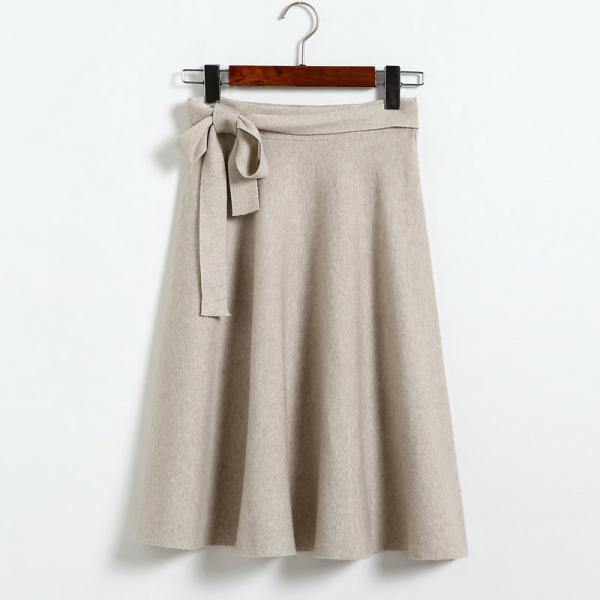 High Waist Solid Bow A Line Skirt - Beige