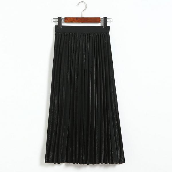 Fshion Women Elastic Waist Pleated Length Skirt - Black
