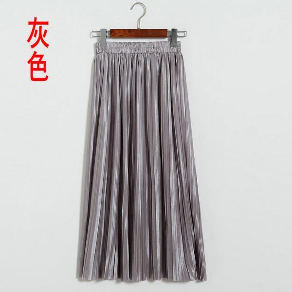 New Long Autumn Women Solid Pleated Skirt - Grey