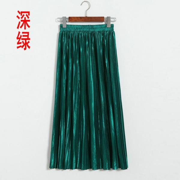 New Long Autumn Women Solid Pleated Skirt - Green
