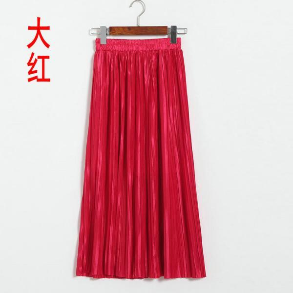 New Long Autumn Women Solid Pleated Skirt - Red