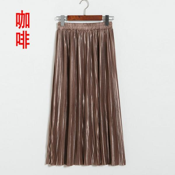 New Long Autumn Women Solid Pleated Skirt - Coffee