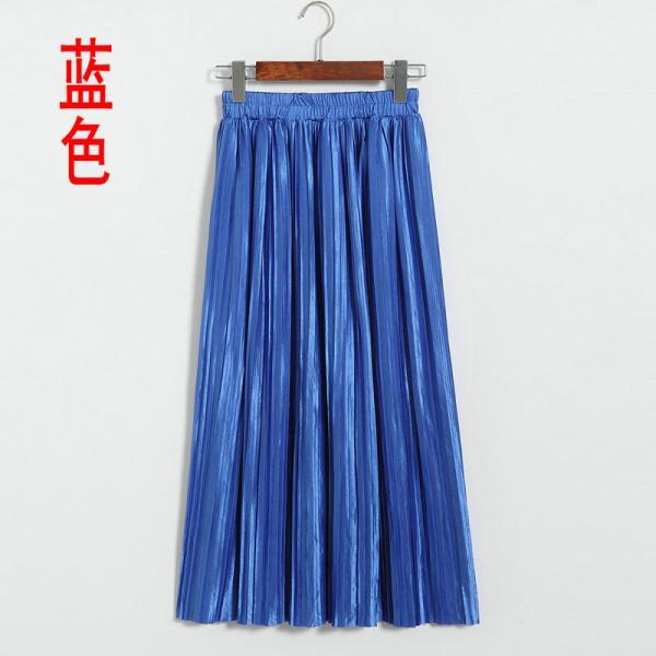 New Long Autumn Women Solid Pleated Skirt - Blue