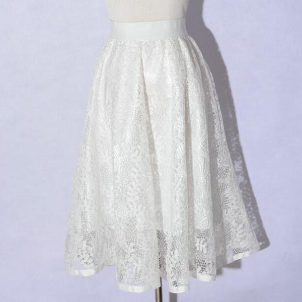 New Hollow Lace A Line Skirt - White