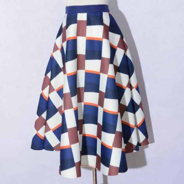 Fshion Lattice Pattern Space Cotton High Waisted Skirt