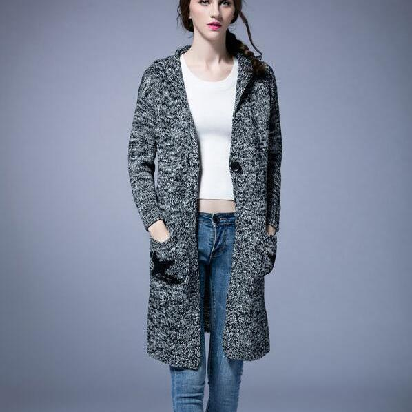New Autumn Winter Long Sleeve Loose Casual Cardigan Coat