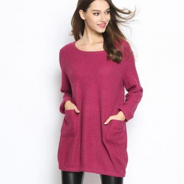 Fashion Women Casual Pullover Loose Sweater Knitwear - Red