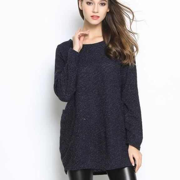 Fashion Women Casual Pullover Loose Sweater Knitwear - Black