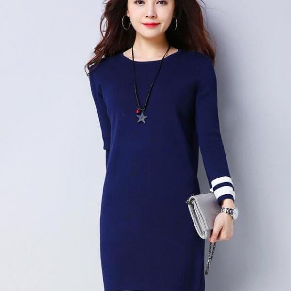 Big Size Women Round Neck Sweater Dress