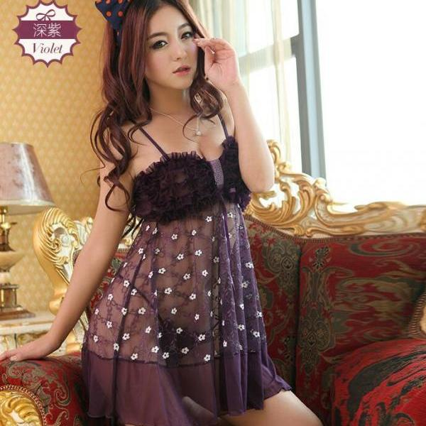Hot Sexy Women Lingerie Sleepwear Nightgown Dress Nightwear - Purple