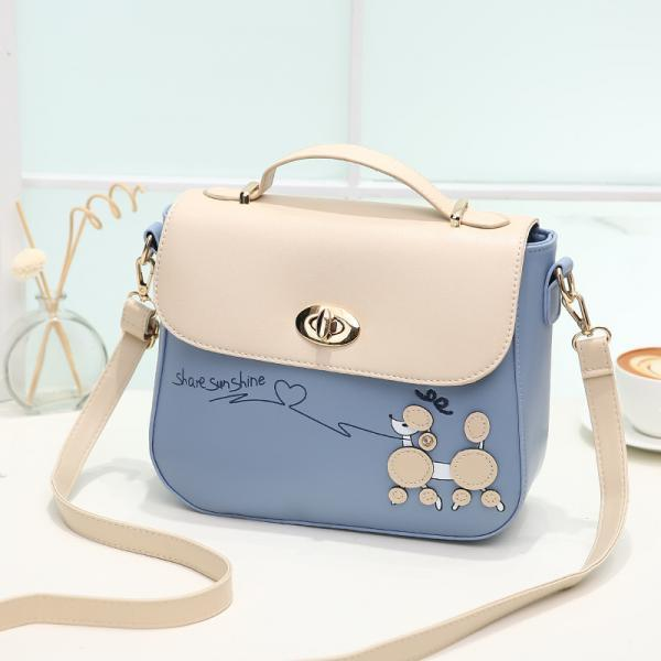 Sweet PU Leather Handbag Shoulder Bag - Blue