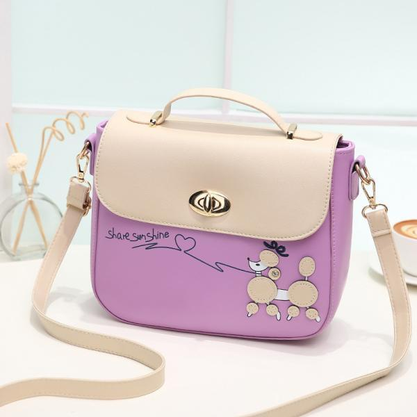 Sweet PU Leather Handbag Shoulder Bag - Purple