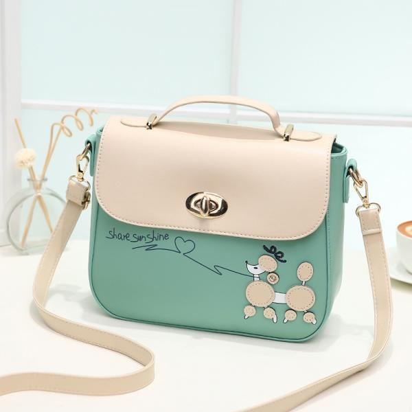 Sweet PU Leather Handbag Shoulder Bag - Green