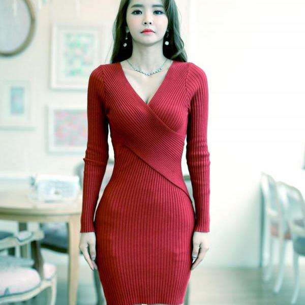Sexy Deep V Neck Long Sleeve Dress - Wine Red