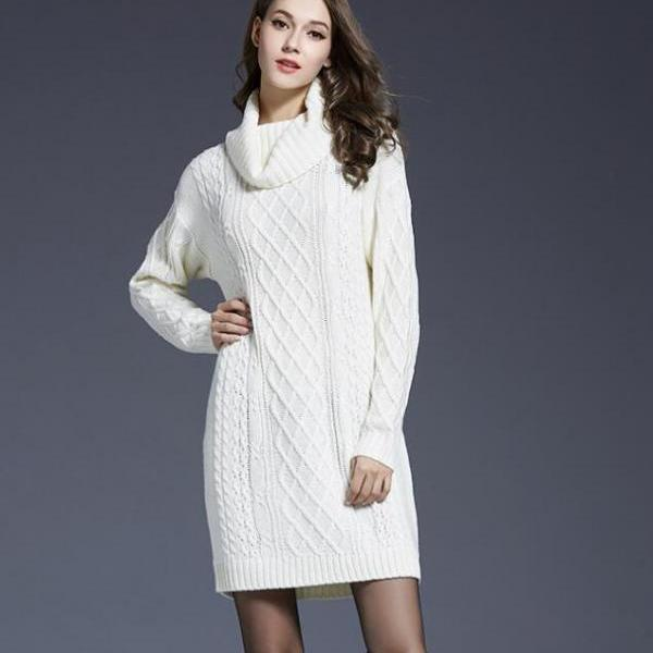 White Cable Knitted Turtleneck Long Cuffed Sleeves Short Sweater Dress