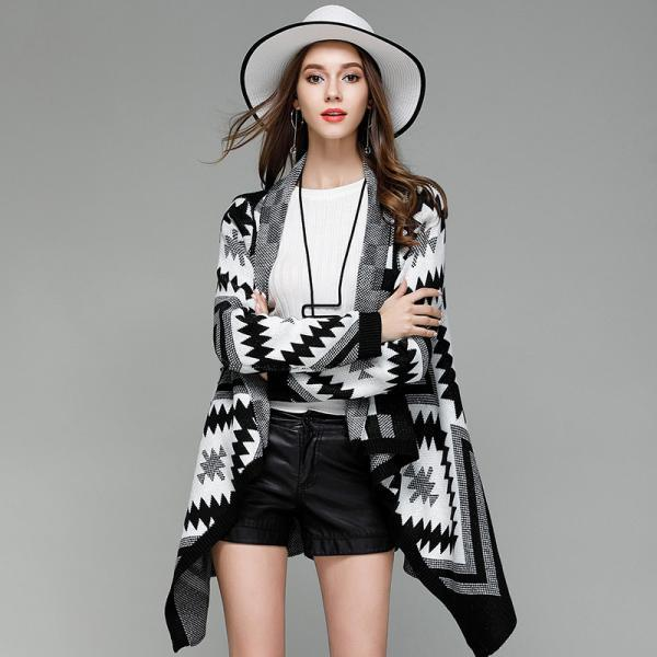 Geometric Pattern Warm Cardigan Sweater