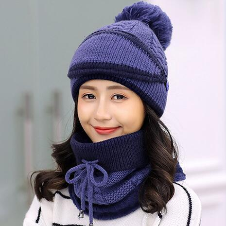 Fashion Winter Hedging Cap Scarf Suit Knit Hats - Blue