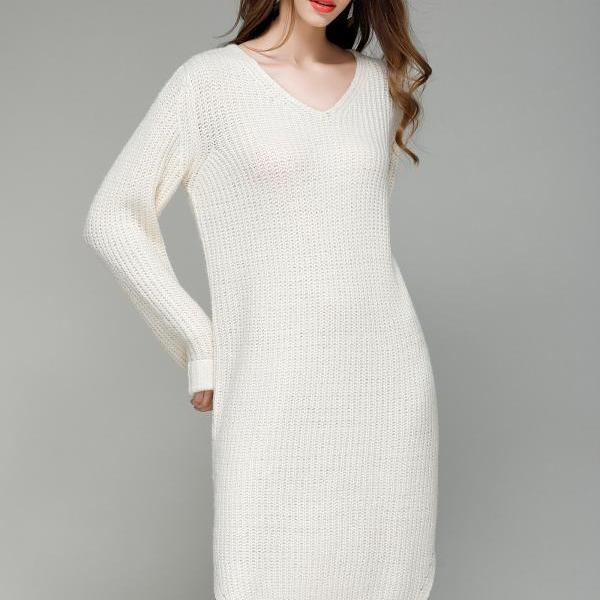 New Long V Collar Loose Big Size Knitted Sweater Dress - White