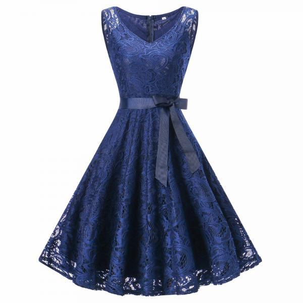 Women V Neck Sleeveless Lace Party A Line Dress - Dark Blue
