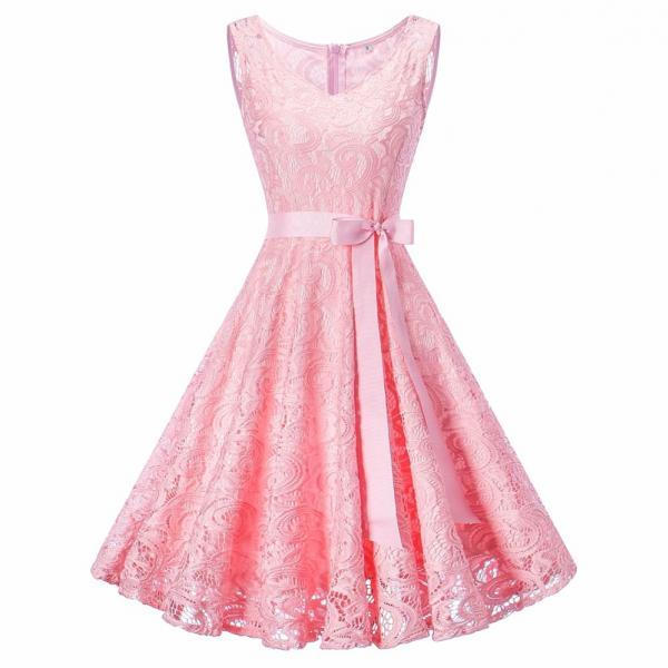 Women V Neck Sleeveless Lace Party A Line Dress - Pink