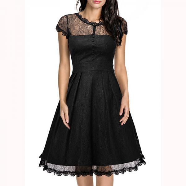 Women's Retro Short Sleeve Lace Slim Party Dress - Black