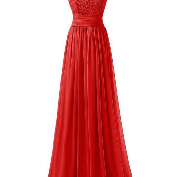 Elegant Long Evening Dresses Women Party Dress - Red