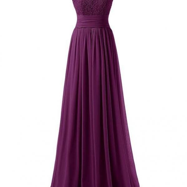 Elegant Long Evening Dresses Women Party Dress - Dark Purple