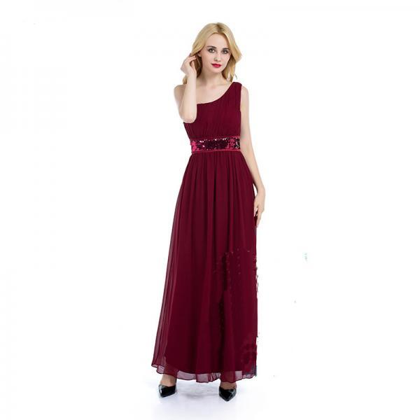 New One Shoulder Pleated Chiffon Long Bridesmaid Dress For Wedding Party - Wine Red