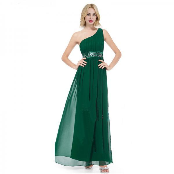 New One Shoulder Pleated Chiffon Long Bridesmaid Dress For Wedding Party - Green