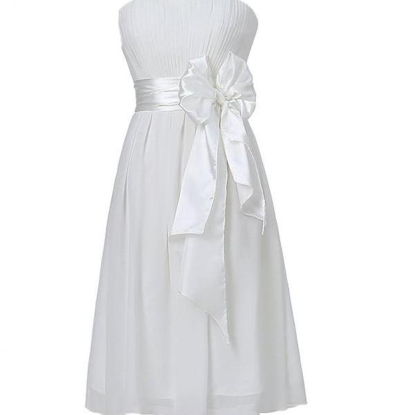 Sweet Bow Chiffon Bridesmaid Party Dress - White