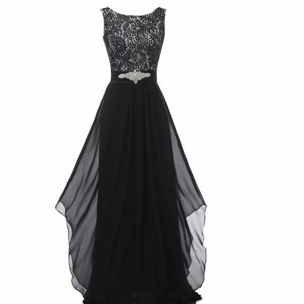 New Arrival Lace Patchwork Long Ruffles Evening Backless Prom Dress - Black