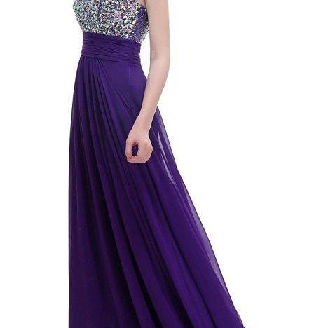 Luxury Prom Dress Long Sexy Backless Beading Sweetheart Chiffon Formal Elegant Bride Evening Party Gowns - Purple