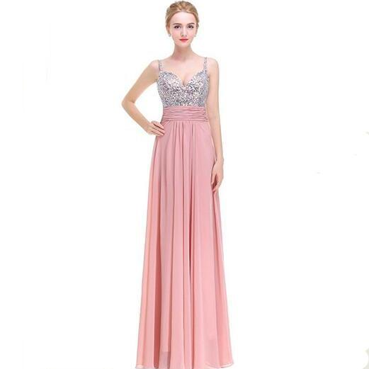 Luxury Prom Dress Long Sexy Backless Beading Sweetheart Chiffon Formal Elegant Bride Evening Party Gowns - Pink